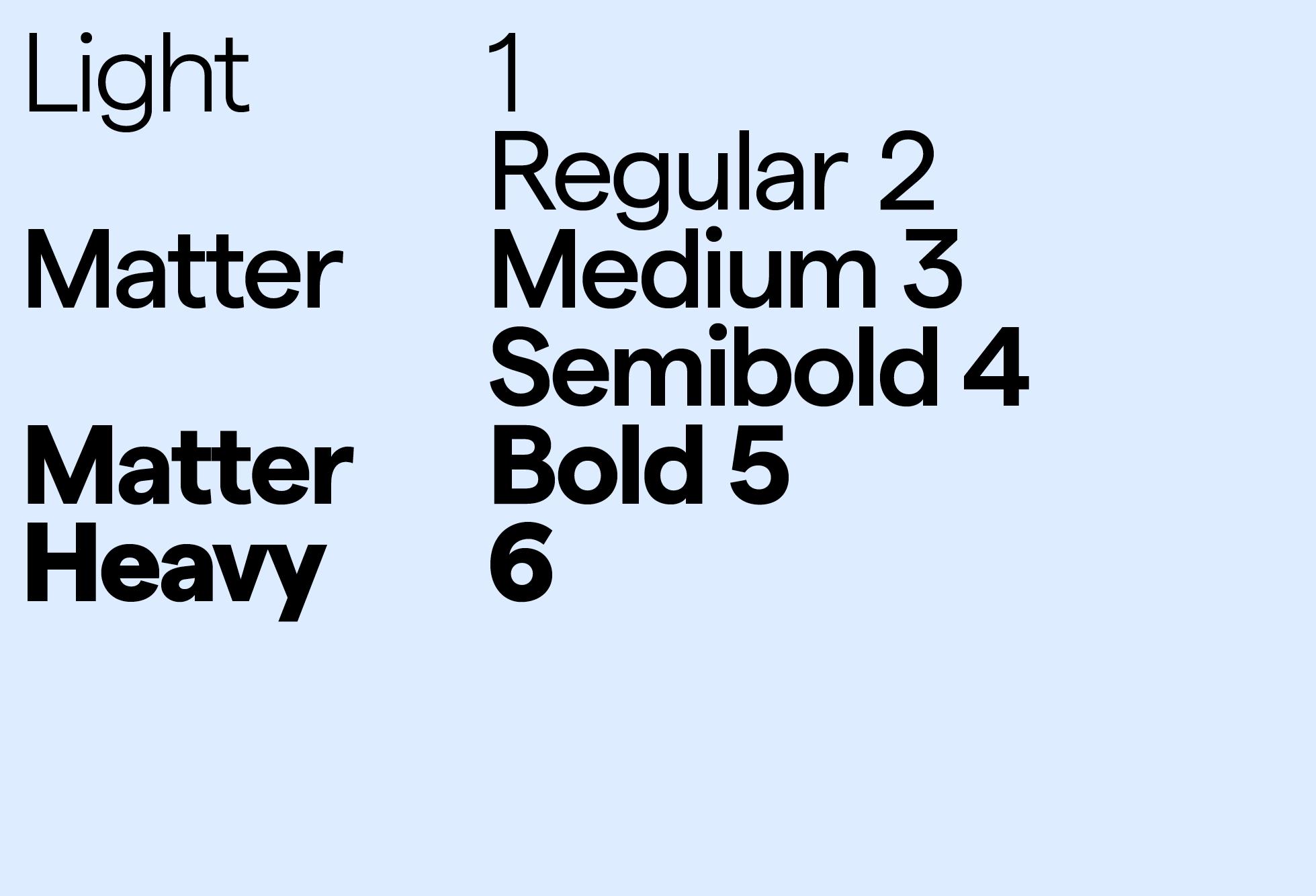 Matter Weights & Styles